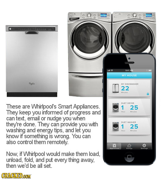 00 941 AM MY HOUSE MY DISHEWASHER 22 a These are Whirlpool's DUET DOYEE Smart Appliances. 1 25 They keep you informed of progress and can text, email