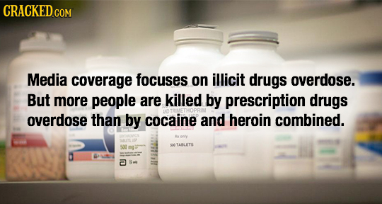 CRACKED.COM Media coverage focuses on illicit drugs overdose. But more people are killed by prescription drugs RIMETHOPRIM overdose than by cocaine an