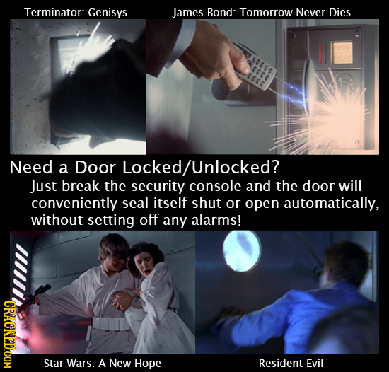 Terminator: Genisys James Bond: Tomorrow Never Dies 0000 CEC Need a Door Locked/Unlocked? Just break the security console and the door will convenient
