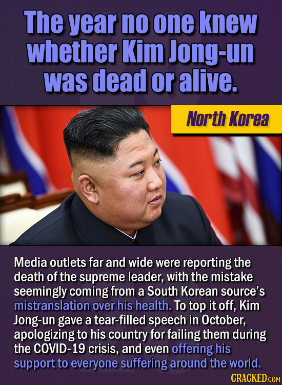 15 Of The Strangest Things 2020 Managed To Cook Up  (Part 1) - The year no one knew whether Kim Jong-un was dead or alive.Media outlets far and wide w
