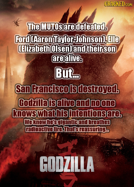 CRACKED COM The MUTOS are defeated. Ford Aaron Taylor Johnson), Elle (Elizabeth Olsen) and their son are alive. But... San Franciscol is destroyed. Go