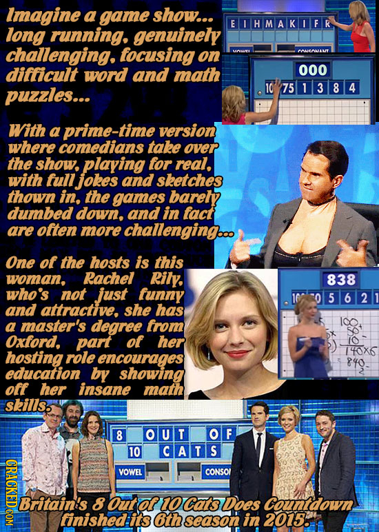 Imagine a game show... EIHMAKIFR long running. genuinely challenging. tocusing on VwE PenANT difficult word and math 000 puzzles... 10 751384 With a p