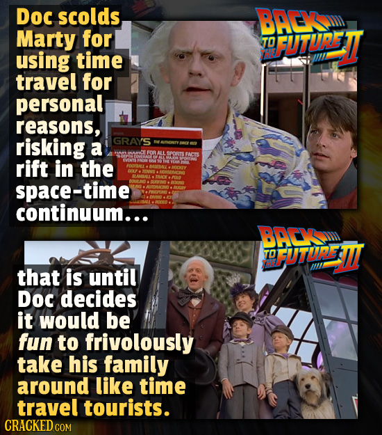 Doc scolds BAEK Marty for TO FUTURETT using time travel for personal reasons, risking GRAYS a ATNNTY FOR MLL SPORTS FACTS rift in the space-time conti