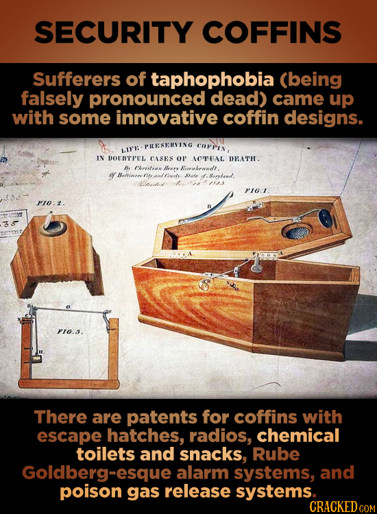 SECURITY COFFINS Sufferers of taphophobia (being falsely pronounced dead) came up with some innovative coffin designs. PRESERVING COFFIn, UIF'E IN DOU