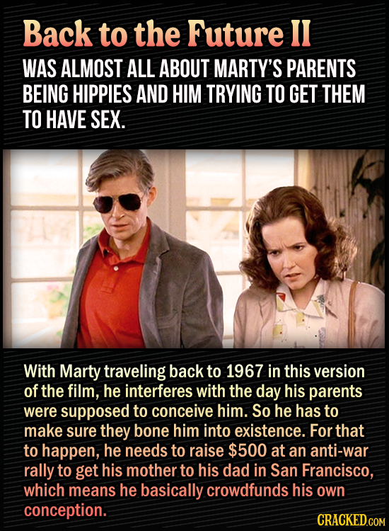 15 Bonkers Movie Sequels We Almost Got - Back to the Future II was almost all about Marty's parents being hippies and him trying to get them to have s
