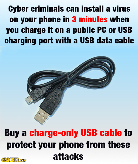 Cyber criminals can install a virus on your phone in 3 minutes when you charge it on a public PC or USB charging port with a USB data cable L MA t Buy