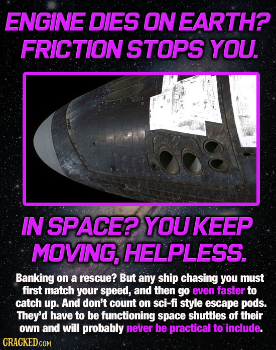 ENGINE DIES ON EARTH? FRICTIONSTOPS YOU. IN SPACE? YOU KEEP MOVING, HELPLESS. Banking on a rescue? But any ship chasing you must first match your spee