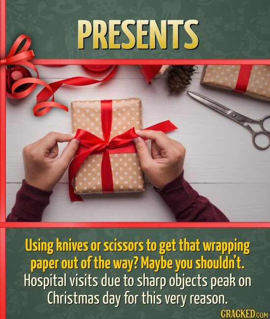 PRESENTS Using knives or scissors to get that wrapping paper out ofthe way? Maybe you shouldn't. Hospital visits due to sharp objects peak on Christma