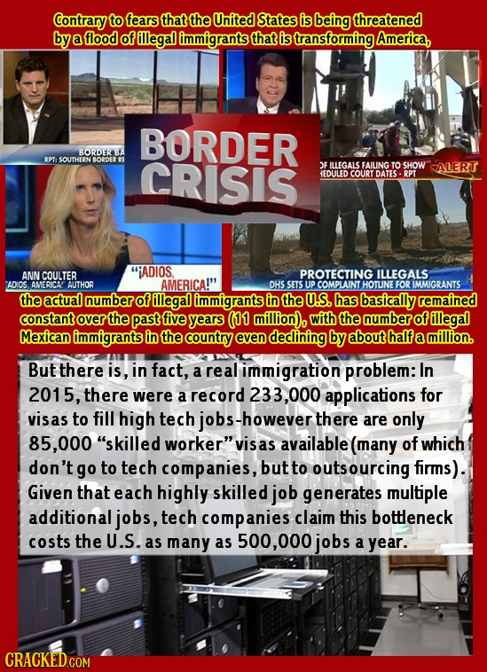 Contrary to fearsthat the United States is being threatened by a flood of illegal immigrants thatis transforming America, BORDER BORDER BA RPT: SOUTHE