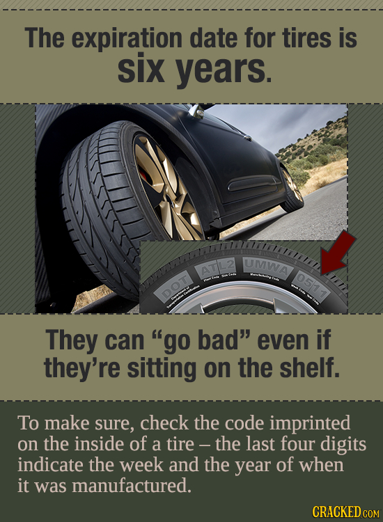 The expiration date for tires is six years. UMWA ATL2 051 1 DOT They can go bad even if they're sitting on the shelf. To make sure, check the code i
