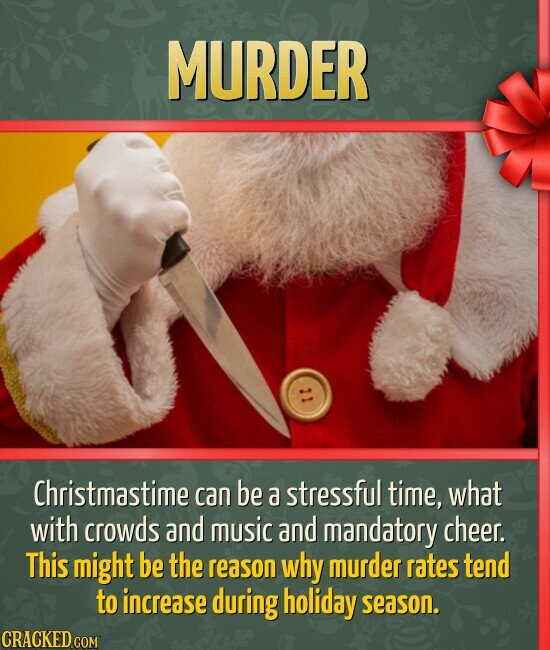 MURDER Christmastime can be a stressful time, what with crowds and music and mandatory cheer. This might be the reason why murder rates tend to