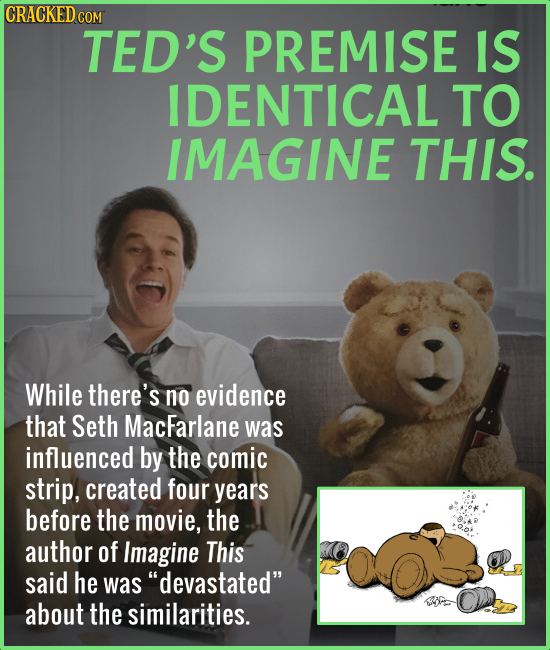 CRACKED CO COM TED'S PREMISE IS IDENTICAL TO IMAGINE THIS. While there's no evidence that Seth MacFarlane was influenced by the comic strip, created f