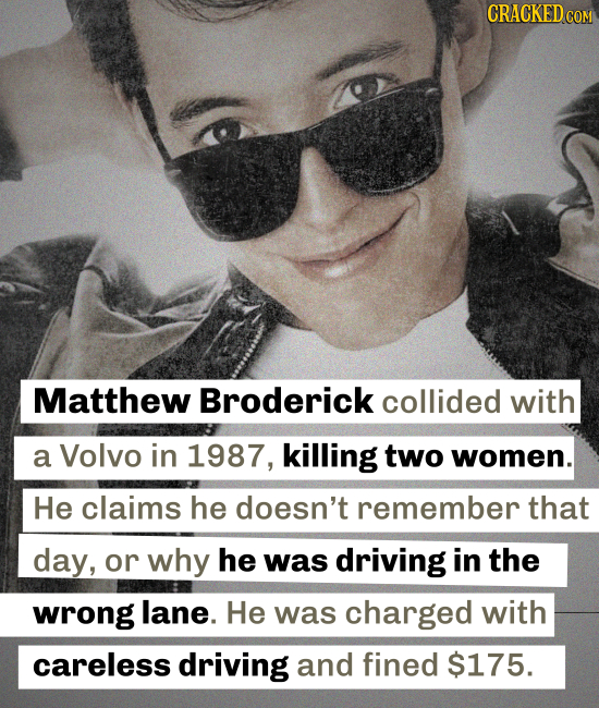 Matthew Broderick collided with a Volvo in 1987, killing two women. He claims he doesn't remember that day, or why he was driving in the wrong lane. H