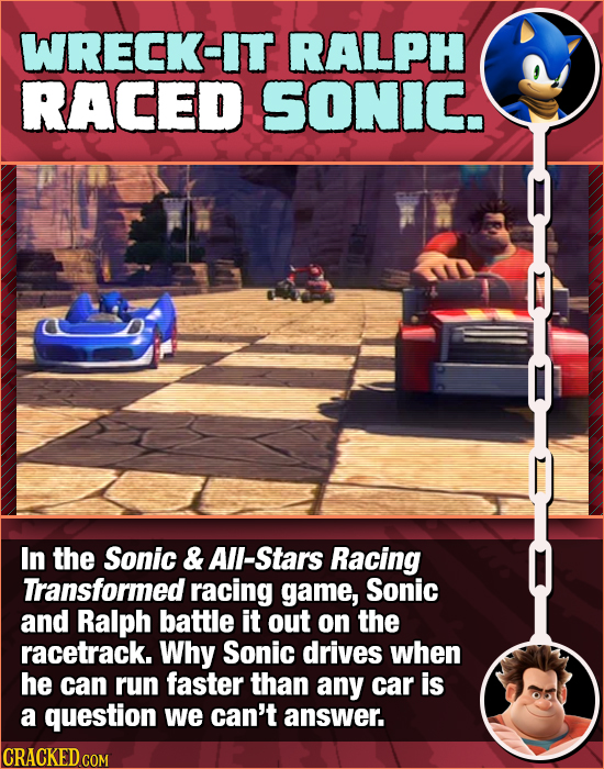 WRECK-IT RALPH RACED SONIC. In the Sonic & All-Stars Racing Transformed racing game, Sonic and Ralph battle it out on the racetrack. Why Sonic drives