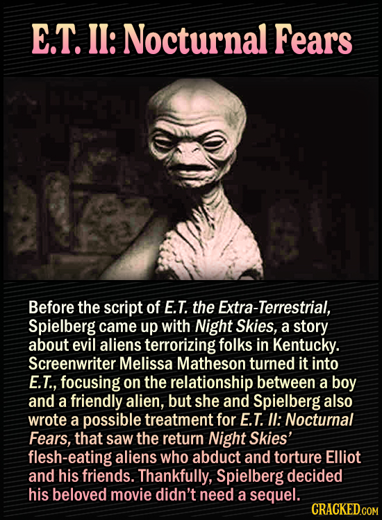 15 Bonkers Movie Sequels We Almost Got - E.T. II: Nocturnal Fears Before the script of E.T. the Extra-Terrestrial, Spielberg came up with Night Skies,