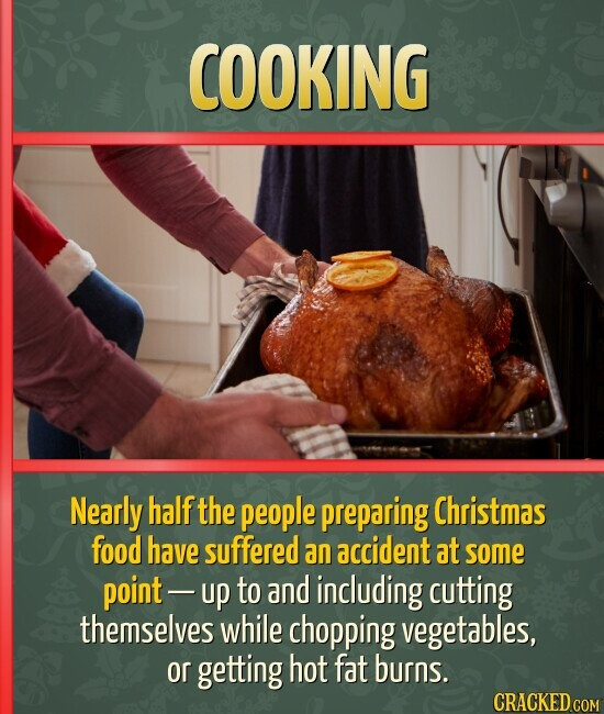 COOKING Nearly half the people preparing Christmas food have suffered an accident at some point- up to and including cutting themselves while chopping