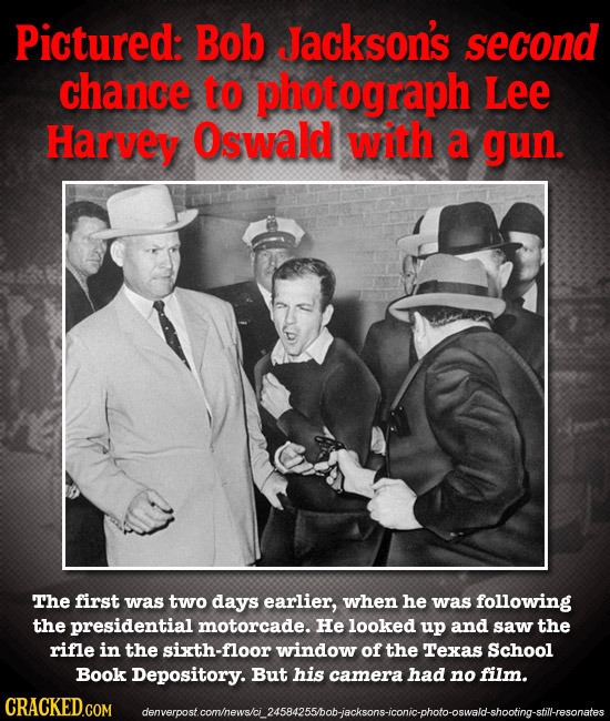 Pictured: Bob Jackson's second chance to photograph Lee Harvey Oswald with a gun. The first was two days earlier, when he was following the presidenti