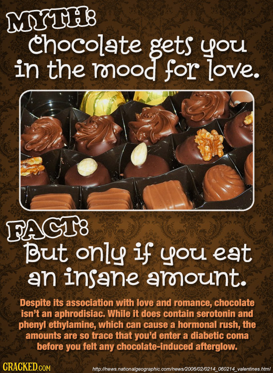 MYTH8 chocolate gets you in the rorood for love. FAGT8 But only if you eat an insane arount. Despite its association with love and romance, chocolate