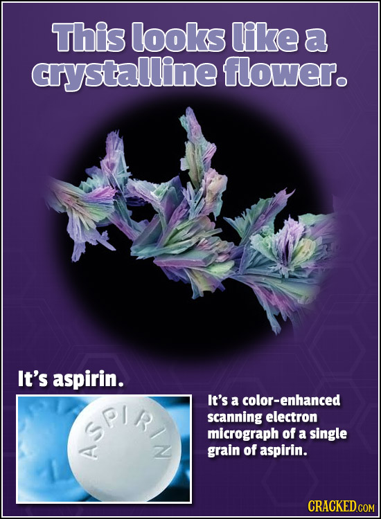 This looks like a crystalline flower. It's aspirin. SPIR It's a color-enhanced scanning electron micrograph of a single grain of aspirin. A