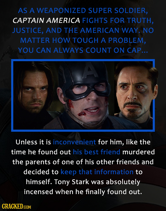AS A WEAPONIZED SUPER SOLDIER, CAPTAIN AMERICA FIGHTS FOR TRUTH, JUSTICE, AND THE AMERICAN WAY. NO MATTER HOW TOUGH A PROBLEM, YOU CAN ALWAYS COUNT ON