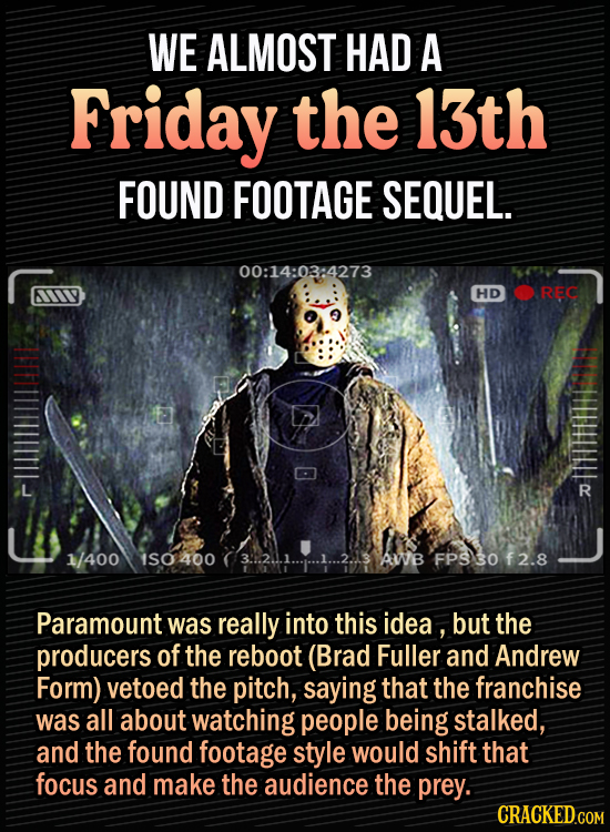 15 Bonkers Movie Sequels We Almost Got - We almost had a Friday the 13th found footage sequel - Paramount was really into this idea , but the producer