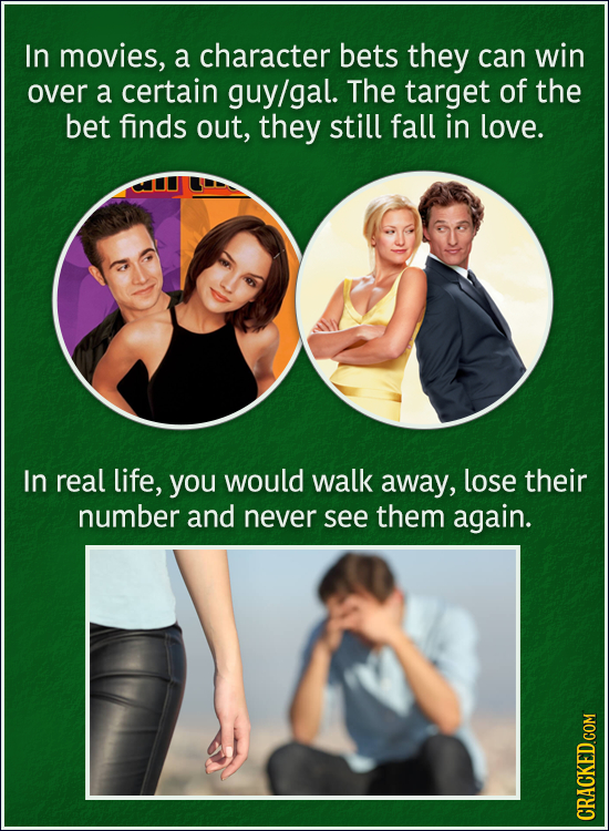 In movies, a character bets they can win over a certain guy/gal. The target of the bet finds out, they still fall in love. In real life, you would wal