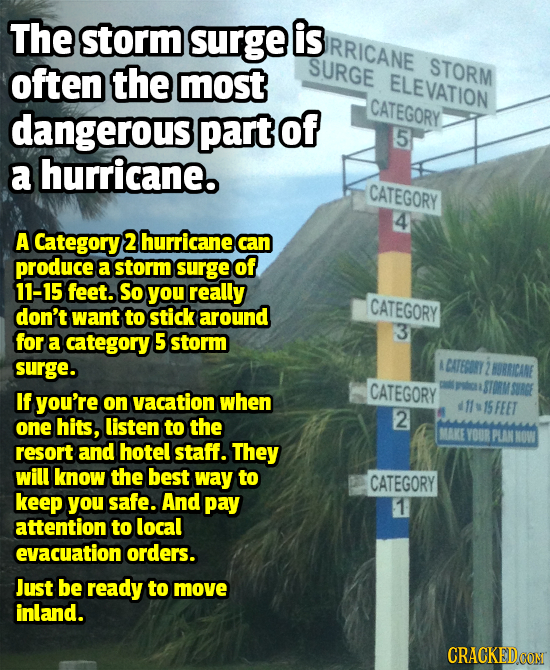 The storm surge is RRICANE often the SURGE STORM most ELEVATION dangerous part of CATEGORY 5 a hurricane. CATEGORY 4 A Category 2 hurricane can produc