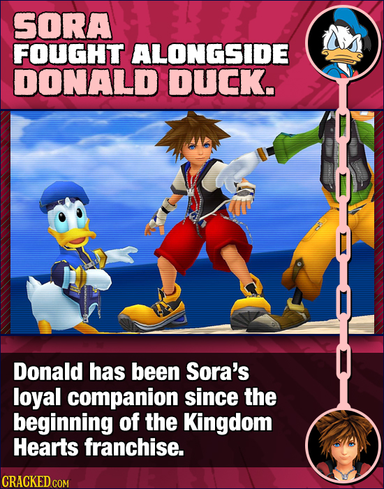 SORA FOUGHT ALONGSIDE DONALD DUCK. Donald has been Sora's loyal companion since the beginning of the Kingdom Hearts franchise.