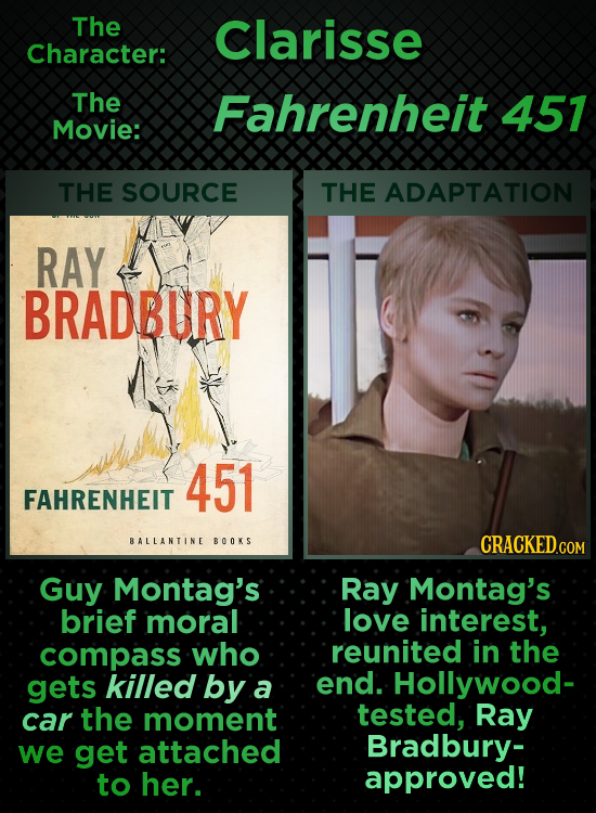 The Clarisse Character: The Fahrenheit 457 Movie: THE SOURCE THE ADAPTATION RAY BRADBURY 451 FAHRENHEIT BALLANTINE BOOKS CRACKED Guy Montag's Ray Mont