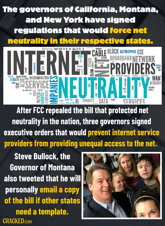 The governors of California, Montana, and New York have signed regulations that would force net neutrality in their respective states. INTERNET. ESPET
