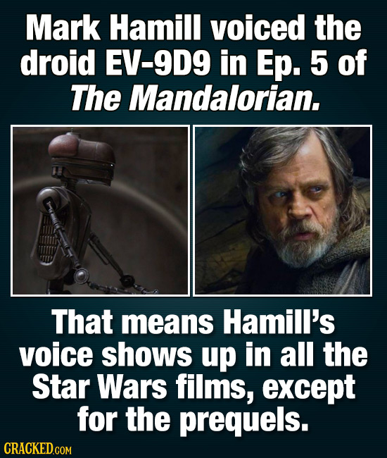 Mark Hamill voiced the droid EV-9D9 in Ep. 5 of The Mandalorian. That means Hamill's voice shows up in all the Star Wars films, except for the prequel