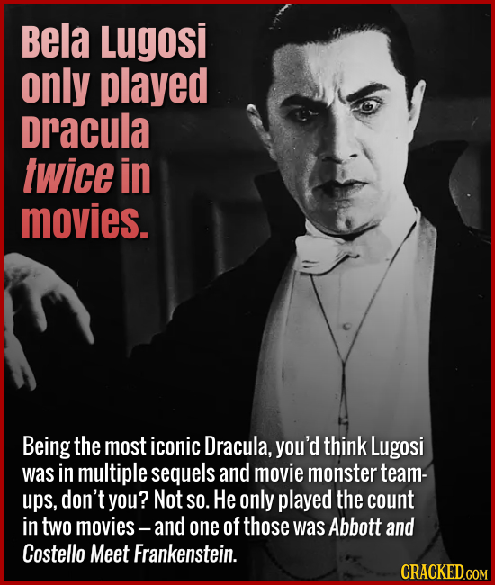 Bela Lugosi only played Dracula twice in movies. Being the most iconic Dracula, you'd think Lugosi was in multiple sequels and movie monster team-ups