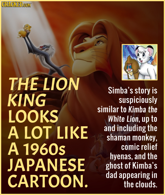 THE LIon Simba's story is KING suspiciously LOOKS similar to Kimba the White Lion, up to A LOT LIKE and including the shaman monkey, A 1960s comic rel