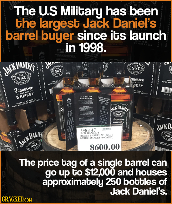 The U.S Military HaS been the largest Jack Daniel's barrel buyer since its launch in 1998. UANIFIS O1d JACK NO.7Z N07 Oid NO.Z uessee SKEY Jernessee W