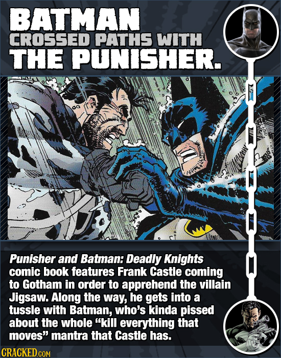 BATMAN CROSSED PATHS WITH THE PUNISHER. Punisher and Batman: Deadly Knights comic book features Frank Castle coming to Gotham in order to apprehend th