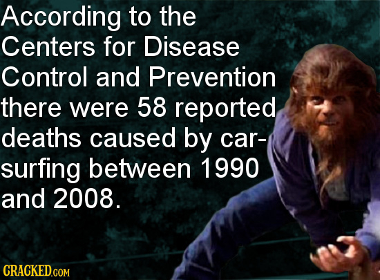 According to the Centers for Disease Control and Prevention there were 58 reported deaths caused by car- surfing between 1990 and 2008.