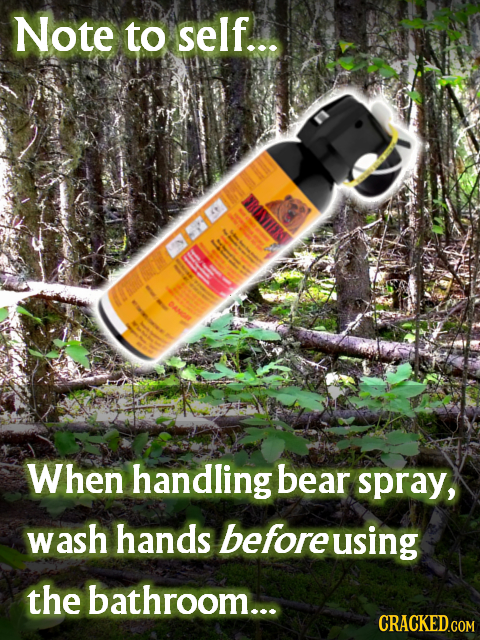 Note to self... When handling bear spray, wash hands beforeusing the bathroom... CRACKED.COM