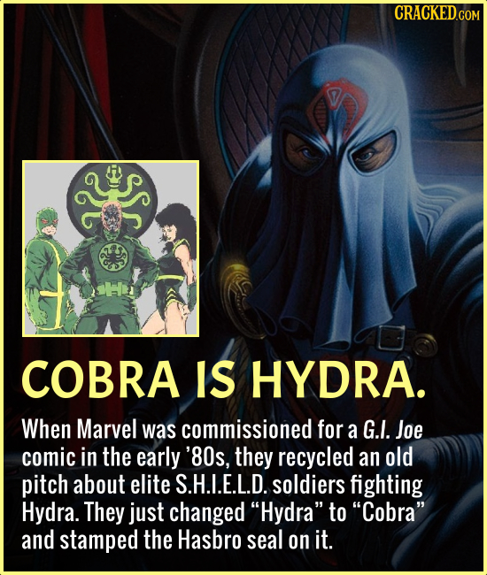 COBRA IS HYDRA. When Marvel was commissioned for a G.I. Joe comic in the early '80s, they recycled an old pitch about elite S.H.I.E.L.D. soldiers figh