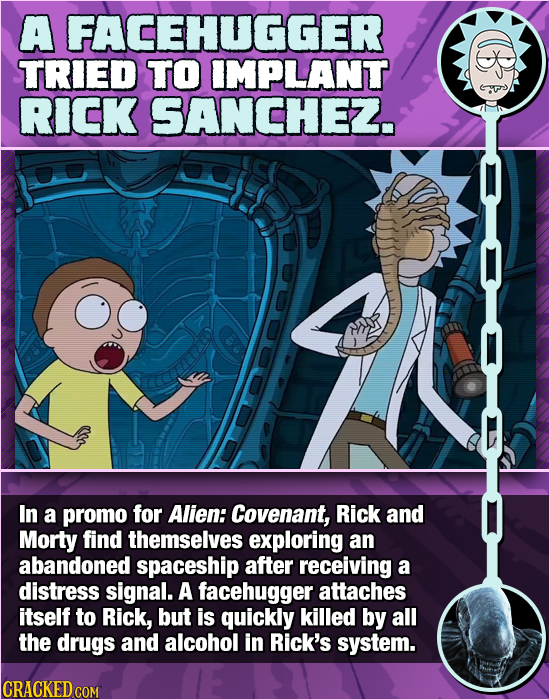 A FACEHUGGER TRIED TO IMPLANT RICK SANCHE. In a promo for Alien: Covenant, Rick and Morty find themselves exploring an abandoned spaceship after recei