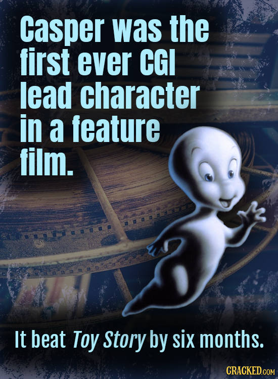 casper was the first ever CGI lead character in a feature film. F lt beat Toy Story by six months.