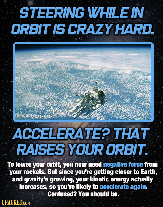 STEERING WHILE IN ORBIT IS CRAZY HARD. ACCELERATE? THAT RAISES YOUR ORBIT. To lower your orbit, you now need negative force from your rockets. But sin