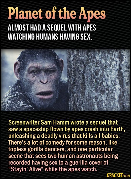 15 Bonkers Movie Sequels We Almost Got - Planet of the Apes almost had a sequel with apes watching humans having sex. Screenwriter Sam Hamm wrote a se