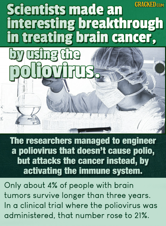 Scientists made CRACKED COM an interesting breakthrough in treating brain cancer, by using the poliovirus. The researchers managed to engineer a polio