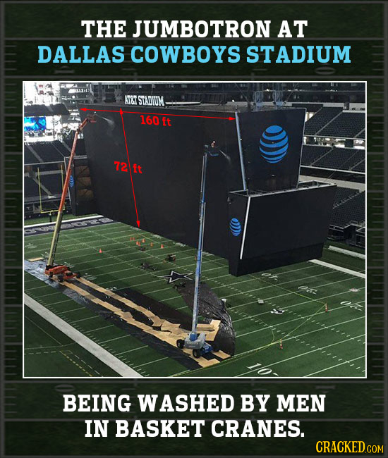 THE JUMBOTRON AT DALLAS COWBOYS STADIUM ATT STADIUM 160 Ft 72 ft BEING WASHED BY MEN IN BASKET CRANES. CRACKEDCO