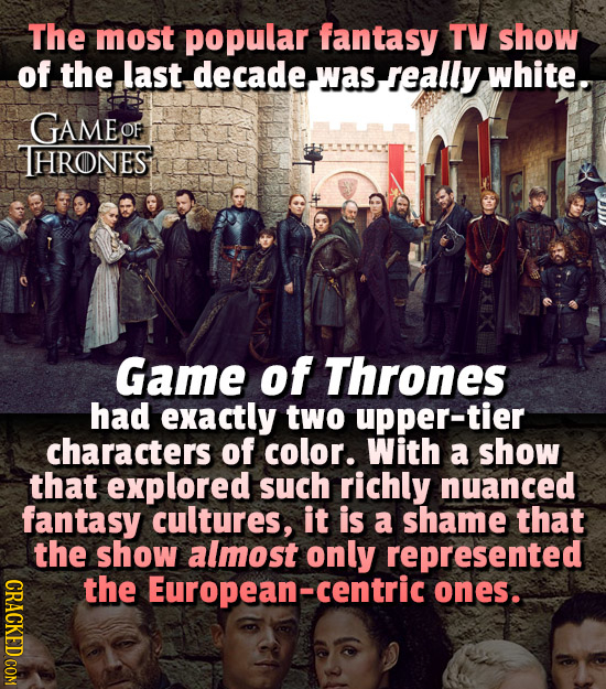 The most popular fantasy TV show of the last decadewasseally was white. GAMEO THRONES Game of Thrones had exactly two upper-tier characters of color.