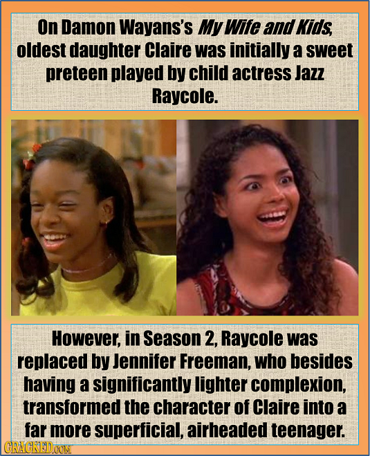 On Damon Wayans's My Wife and Kids, oldest daughter Claire was initially a sweet preteen played by child actress Jazz Raycole. However, in Season 2, R