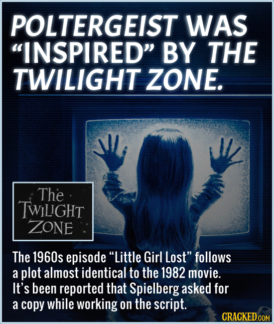 POLTERGEIST WAS INSPIRED BY THE TWILIGHT ZONE. The TWILGHT ZONE The 1960s episode Little Girl Lost follows a plot almost identical to the 1982 mov