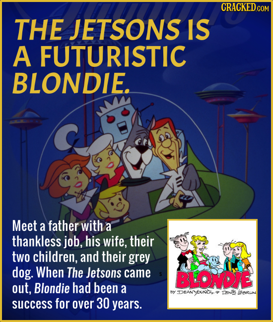 THE JETSONS IS A FUTURISTIC BLONDIE. Meet a father with a thankless job, his wife, their two children, and their grey dog. When The Jetsons came BLOND