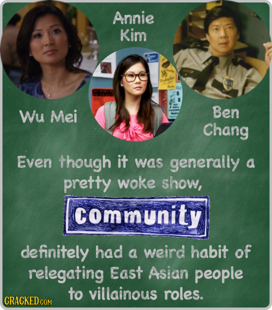 Annie Kim Wu Mei Ben Chang Even though it was generally a pretty woke show, community definitely had a weird habit of relegating East Asian people to