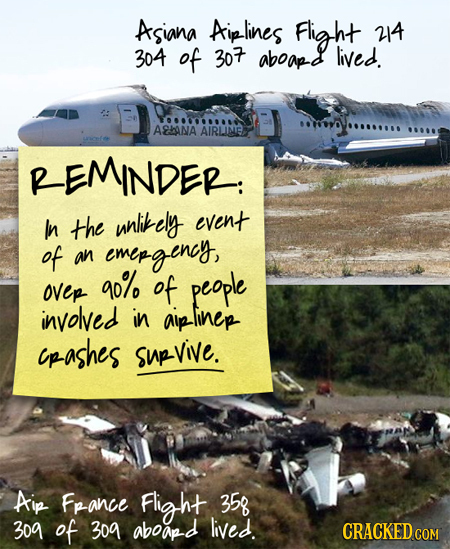 ASIANA Aiplines Flight 24 304 of 30 aboap-d lived. AHANA AIRLINE REMINDER: In the unlitely event of an emepgency, 4o% ovep of people involved in aipli